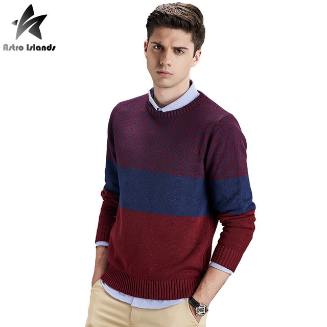 2016 Autumn Winter Brand Knitted Sweater Men O-Neck Pullovers 100% Cotton Slim Sweaters Mix Color Fashion Casual Clothing LW172