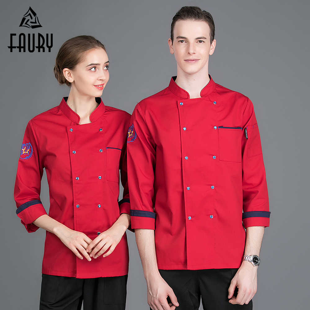 f8cc3e3729d Chef Coat Unisex Long Sleeve Restaurant Uniforms Shirts Catering Kitchen Hotel  Chef Waiter Work Uniform Cook