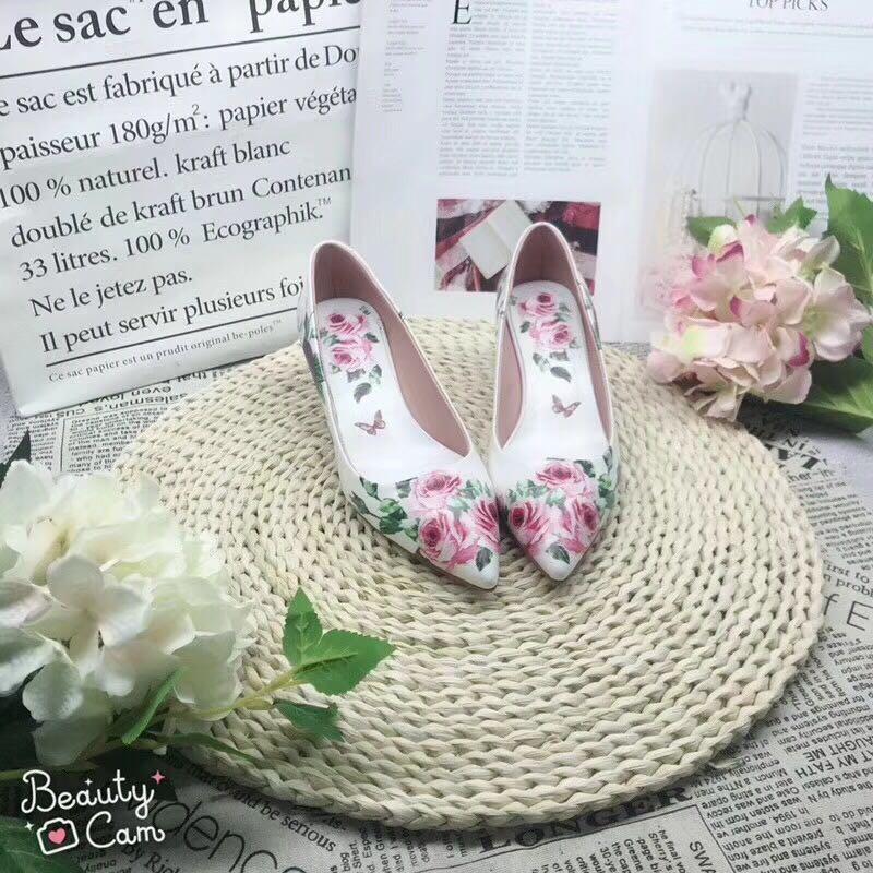 Talon Petit Avec Professionnel Travail Nouveau Blanc Cuir Aiguille Simples Imprimé Décontracté Femmes 2018 Fleurs Chaussures Pointu 4j3L5RA