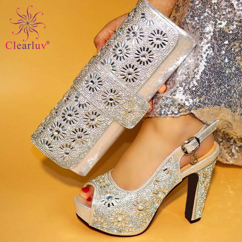 Sliver Color Ladies Italian Shoes And Bag Set Decorated With Rhinestone Italian Shoes With Matching Bags High Quality Party Shoe