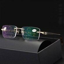 Reven Jate rimless Eyewear Smart zoom Progressive Multifocal Reading Glasses Men Women Presbyopia Hyperopia