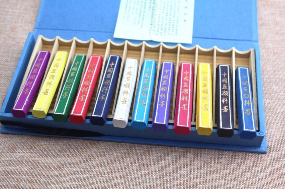 12pc Chinese Brush Painting Ink Stick HuiMo Hukaiwen 12 Color Pigment Inkstick цена