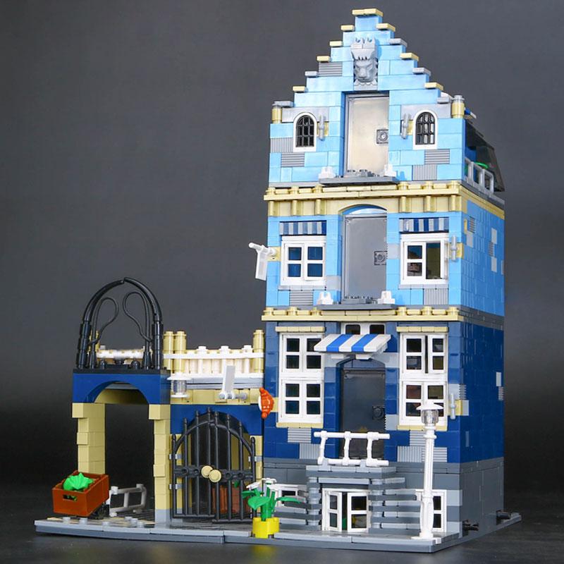 15007 Lepin Factory City Street European Market Model Building Block Set Bricks Kits  DIY Compatible 10190 Educational Toys  trendyangel 15007