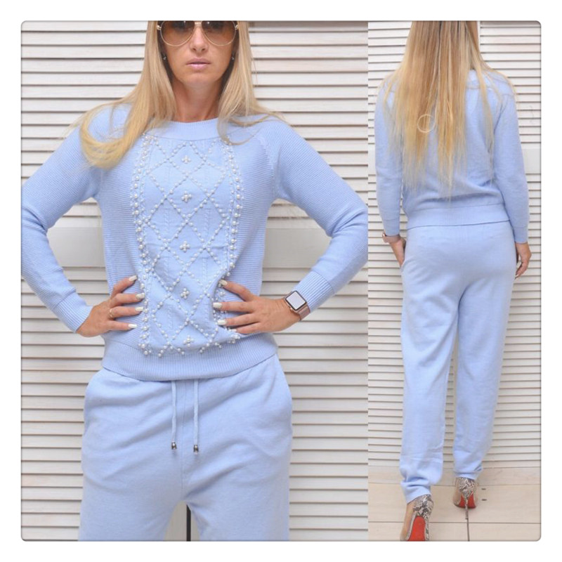 Womens Sweater Pants Suit Set Sweatshirts 2 PCS Set Beaded Trim Trousers Jumper Tops Clothing Set Knitting Tracksuit For Women