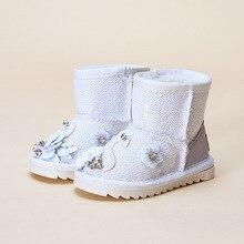 Маленький лебедь Обувь для девочек зимние ботинки зимние сапоги с мехом для Платье для девочек ботинки для маленьких девочек зимняя обувь размер 21-30