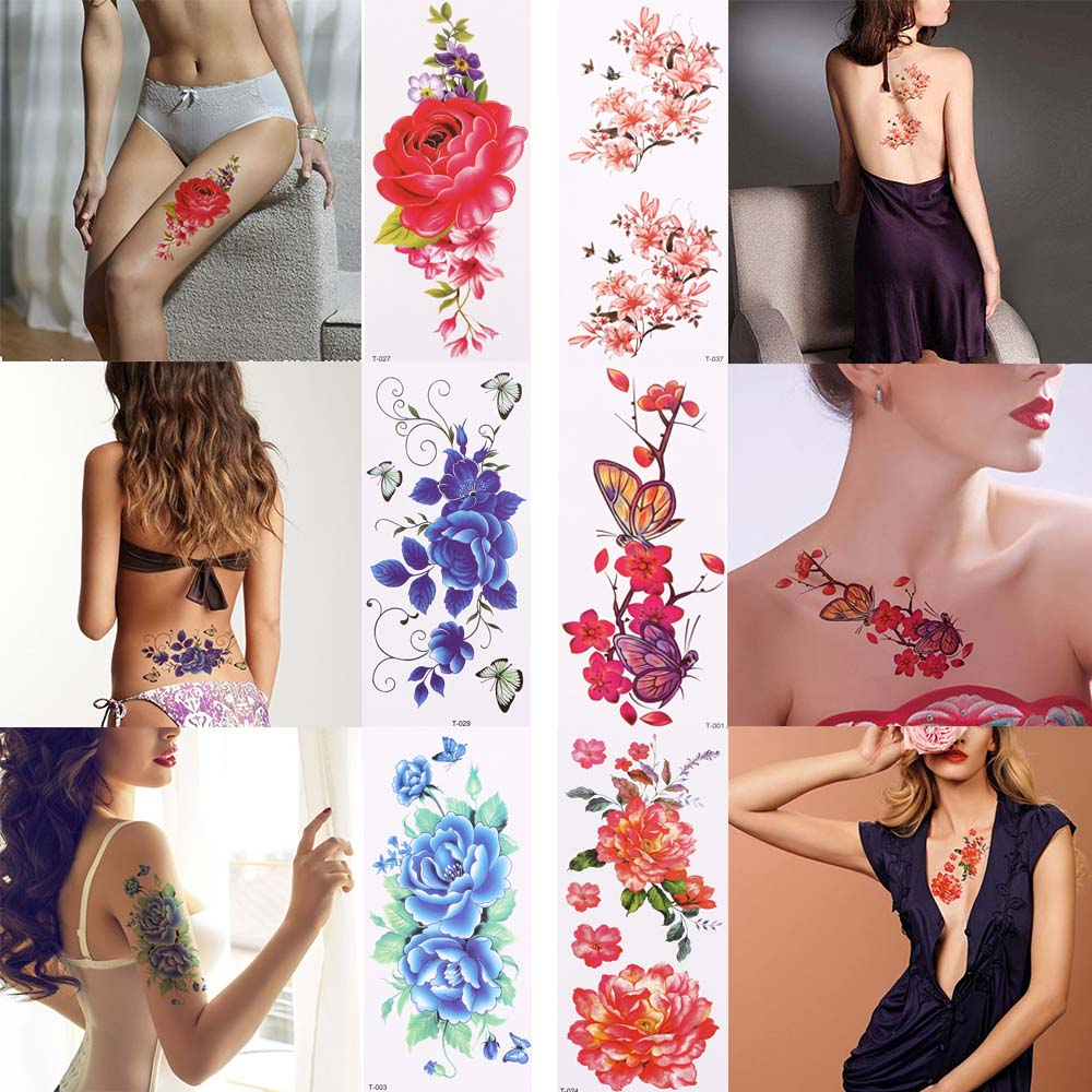1Pc New Fashion 3D Lifelike Rose Flower Sex Waterproof Temporary Tattoos Women Flash Tattoo Arm Shoulder Big Flowers Stickers