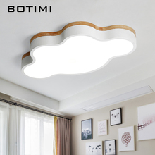 BOTIMI Round Wooden LED Ceiling Lights With Remote Control Modern Lamp For Living Room Lamps Dining Kitchen