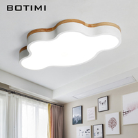 BOTIMI Round Wooden LED Ceiling Lights With Remote Control Modern Ceiling Lamp For Living Room Room