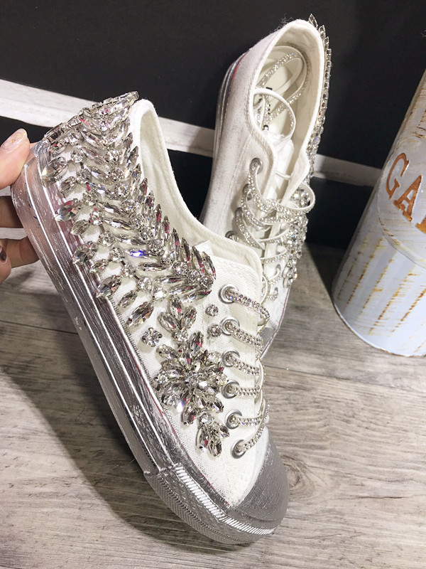 Original European station Super Flash Rhinestone Korean edition gemstone hand stitched casual canvas shoes singles shoes