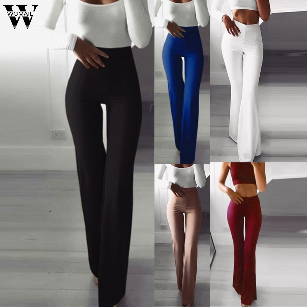 Women Casual Loose Pants Solid Elastic Waist Long Solid Elasticity Leggings Bell-bottoms Pants Autumn Stretch Female Trousers