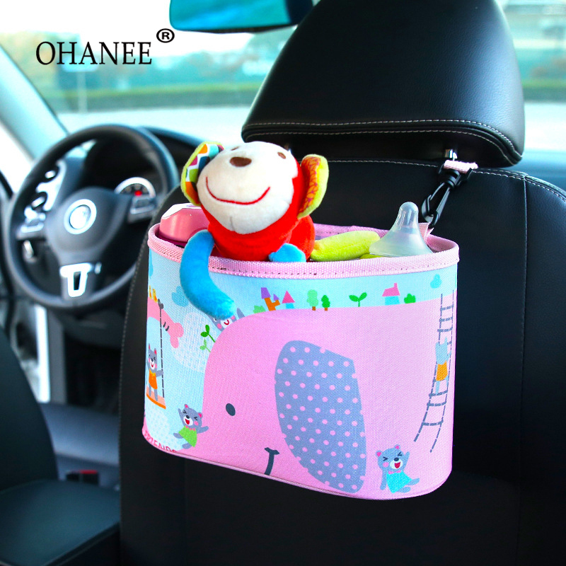 OHANEE cartoon car seat back organizer hanging storage bag of cup holder auto accessories for women children kids girl