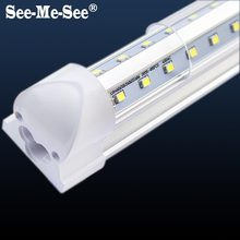 10PCS/Lot 2ft 4ft 5ft 6ft 8ft 600mm 1200mm 1500mm 1800mm 2400mm AC85-265V t8 integrated v shape led tube(China)
