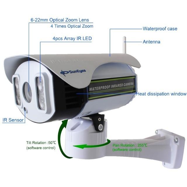 SunEyes SP-P1804SWZ 1080P IP Camera Wireless Outdoor PTZ 2.0MP with TF/Micro SD Slot  Pan/Tilt/Zoom Array IR Night Vision 100M
