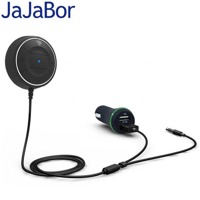 JaJaBor Bluetooth 4.0 Mains Libres Voiture kit avec NFC Fonction + 3.5mm AUX Récepteur Musique Aux Haut-Parleur 2.1A USB Chargeur de voiture