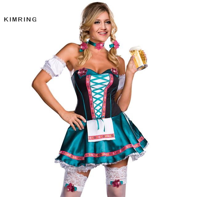 564e939d61 Kimring Sexy German Wench Oktoberfest Costume Dress Beer Maid Costume Adult  Halloween Costume Fancy Party Club Bar Dress Cosplay