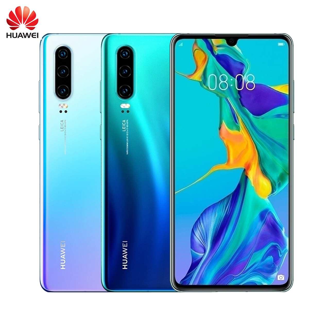 Téléphone portable d'origine HUAWEI P30 128GB + 8GB 6.1 pouces Smartphone Kirin 980 Octa Core Android 9.0 double carte SIM 3650mAh 4 caméras