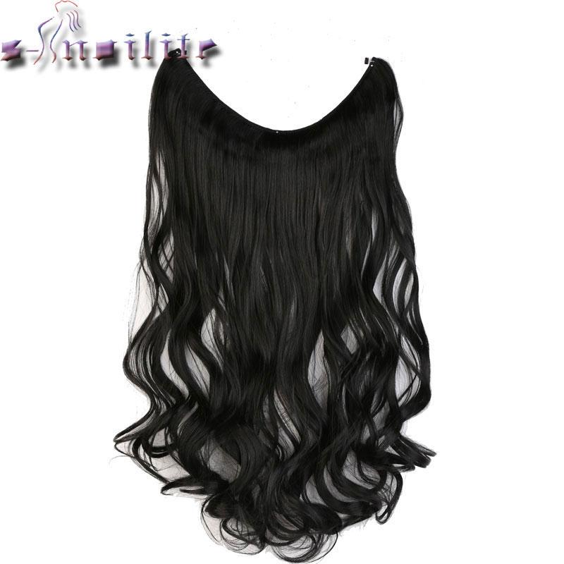 S-noilite 51 cm mujeres Fish línea extensiones de cabello negro marrón Rubio Natural ondulado largo alto Tempreture fibra sintética postizo