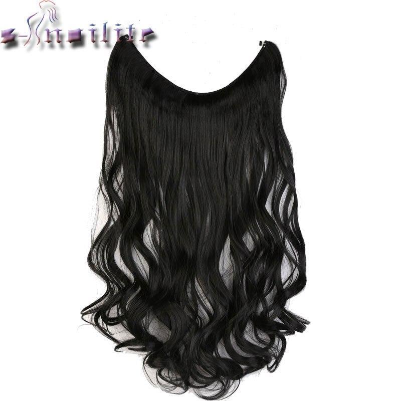 S-noilite 51CM Women Fish Line Hair Extensions Black Brown Natural Wavy Long High Tempreture Fiber Synthetic Hairpiece