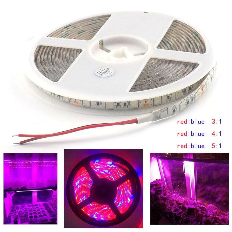 Waterproof Grow LED Strip Light hydroponics system 5 Red 1 Blue lights for Plants lamp DC 12V SMD 5050 1M 2M 3M 4M 5M zdm 5m 72w led plant light strip 300pcs 5050 5 red 1 blue group dc 12v