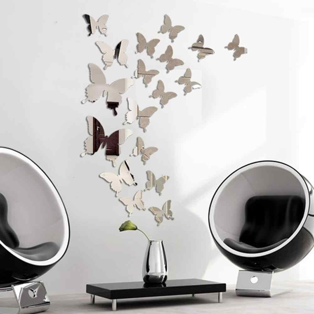 Heißer 24 stücke Spiegel Wand Aufkleber Aufkleber Schmetterlinge 3D Spiegel Wand Kunst Party Hochzeit Home Dekore Schmetterling kühlschrank Wand Aufkleber auf Verkauf