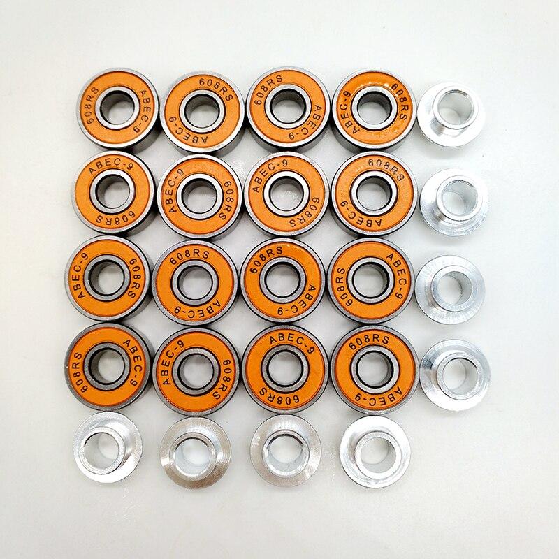 Free Shipping Roller Skates Bearing ABEC-9 608 16 Bearings+8 Spacers ABEC-7