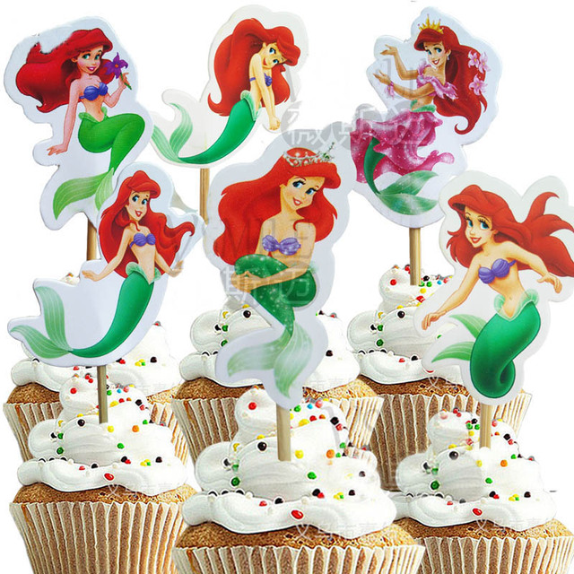 24pcs Pretty Princess The Mermaid Ariel Cupcake Toppers Flag Picks
