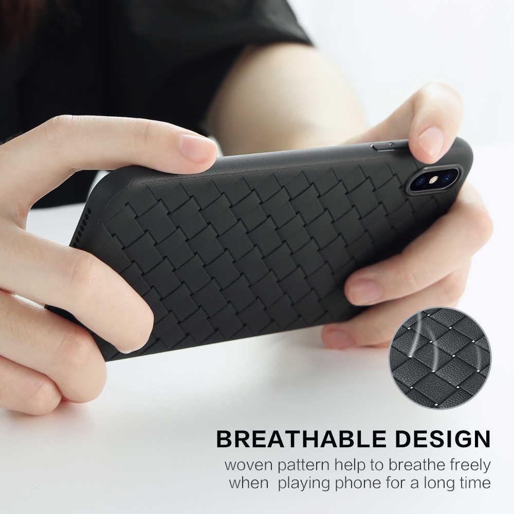 FLOVEME мягкий чехол для телефона для iPhone XR XS Max роскошный сетчатый Плетеный силиконовый чехол для iPhone X 7 8 Plus 6 6s чехол s Coque Fundas