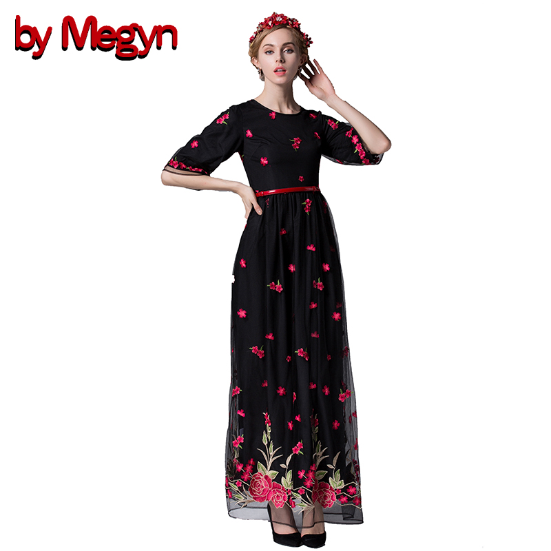 by Megyn 2017 Runway Designer Brand Embroidery Maxi Party Dress Women Half Sleeve Vintage Lace Long Dress Vestidos Wome LD426