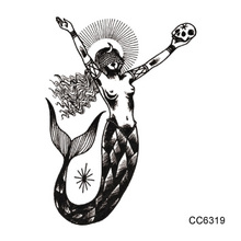 CC6319 6X6cm Little Vintage Old School Style Mermaid Beauty Fish Temporary Tattoo Sticker Body Art Water Transfer Fake Taty