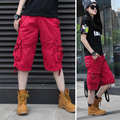 Cotton Womens Casual Cotton Short   Pants   Military Cargo Pockets Calf-Length   Pants   Loose Trousers Female   Pants   &   Capris   C22