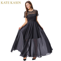Kate Kasin Short Sleeve Evening Dresses Long Lace Formal Dresses 2018 Floor Length Black Evening Gown Mother of the Bride Dress