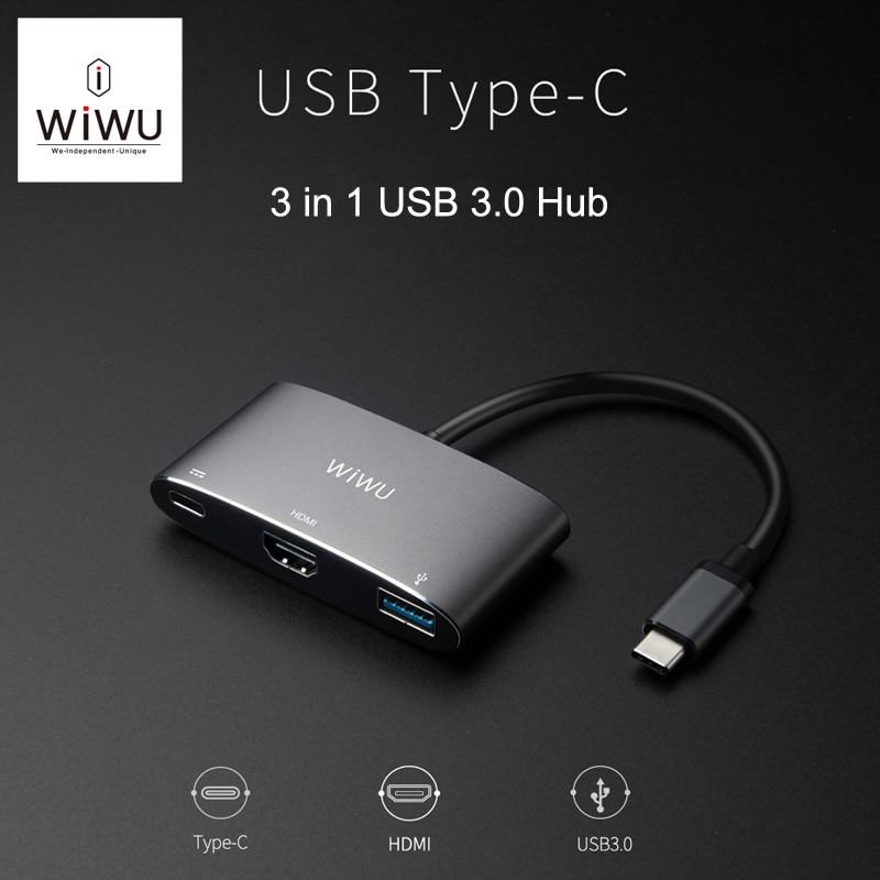 WIWU USB Type C Hub for MacBook Pro 13 15 USB C HDMI/VGA Port 4K Video Type C Adapter for Macbook New 12 Thunderbolt USB 3.0 Hub type c usb3 0 hub with usb c charging port for macbook