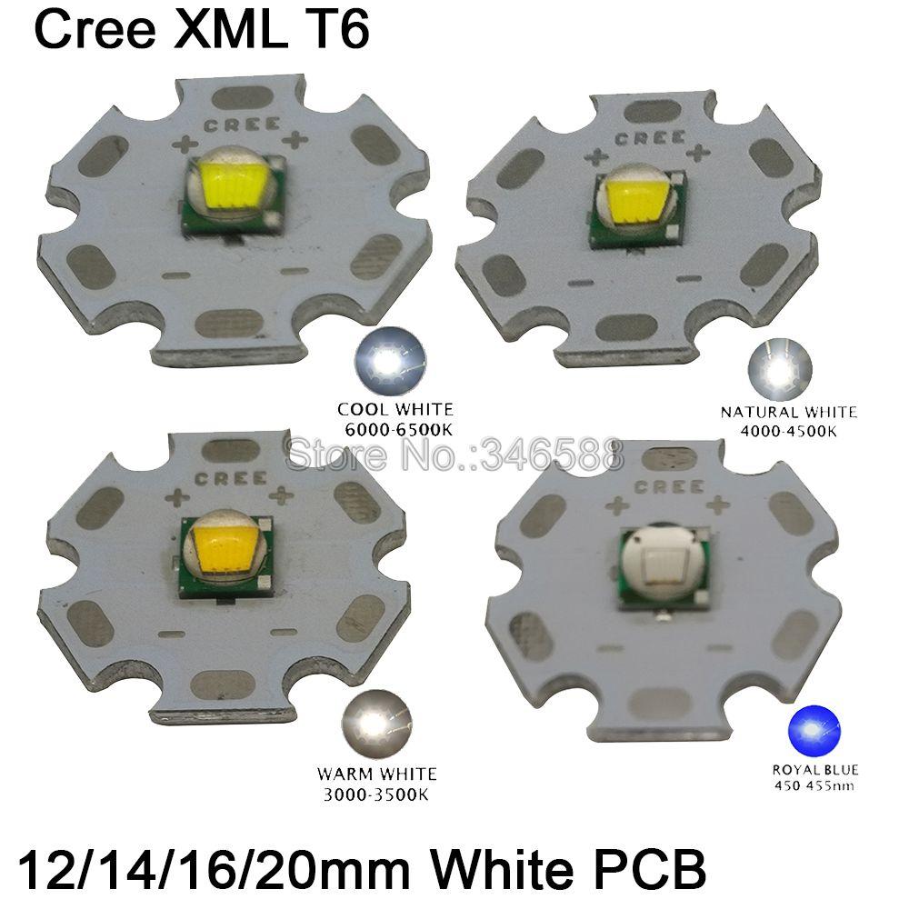 1x Cree XLamp XML XM-L T6 Cool White Neutral White Warm White 10W High Power LED Emitter Bead On White 12mm 14mm 16mm 20mm PCB