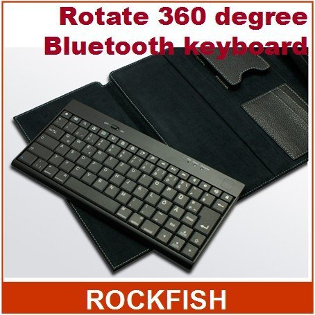 2012 New Style Rotate 360 degree PU+PP fuzz Leather Skin Case for Laptop Notebook with bluetooth keyboard