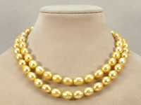 A S040 AA 2 Rows 11 12mm White Black Yellow Gray Fresh Water Pearl Necklace