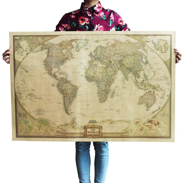 Large 104*69cm World Map English National Geography Oversized ...
