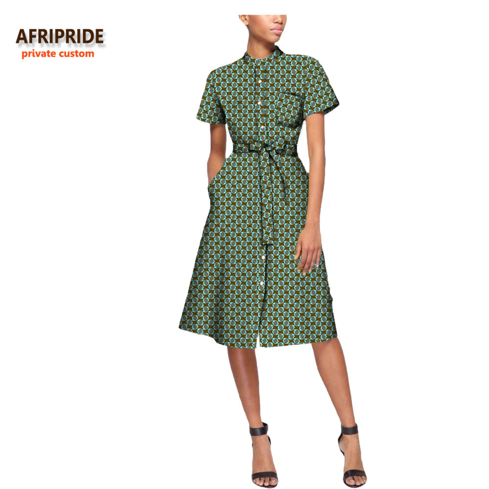 18 antumn new african casual dress for women AFRIPRIDE private custom short sleeve knee-length button with sashes A7225109