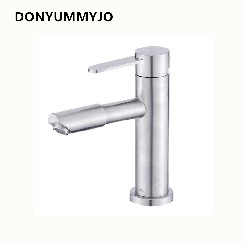 DONYUMMYJO 1pc 304 Stainless Steel Brushed Bathroom Basin Deck Mounted Mixer Faucets Hot and Cold Water Mixer Tap contemporary kitchen faucet hot and cold mixer water tap deck mounted rotate stainless steel basin sinks tap bathroom faucets