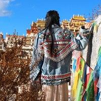 Линетт's Chinoiserie Демисезонный оригинальный Дизайн Для женщин бойфренда Стиль Вышивка Ленточки свободные Джинсовые куртки