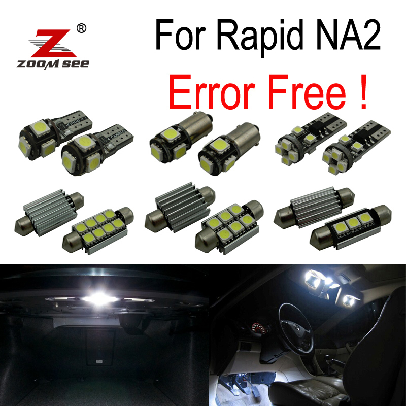 10pcs license plate lamp LED bulb Interior dome Light Kit for Skoda Rapid NA2 (2011+)