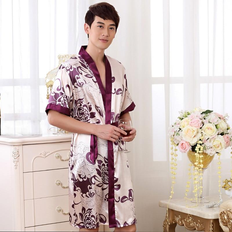 Summer Nightgown Sleepshirts Men Kimono Robe Faux Silk Bath Gown ...