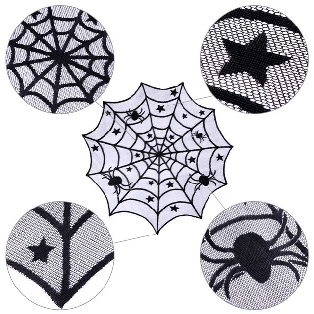 Halloween Black Lace Spiderweb Table Cloth 100 cm
