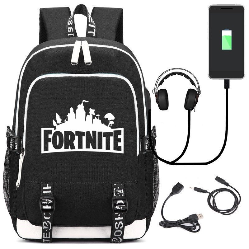 Fortnite Backpack Schoolbag with USB Charging Port and Headphone Jack Loptop School Bags for Teenage Girls and Boys