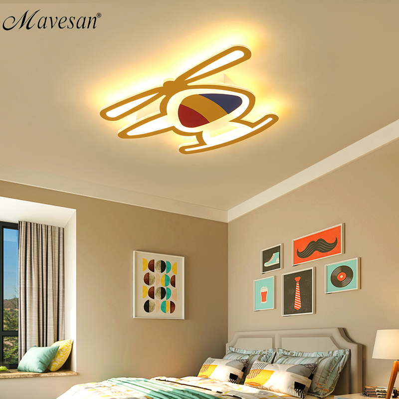 2018 Kids room led ceiling lights Airplane for study bedroom with remote control lighting ceiling mout polarizer luminaria lamp