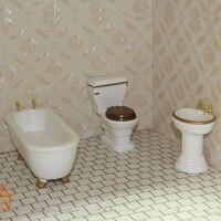 Wooden Bath Room Set bathroom dollhouse miniature 3pc 1/12 scale #BS001