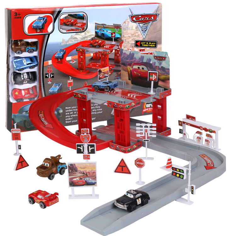 Disney Pixar Cars 3 Lightning Mcqueen Mater Sheriff Track Parking Lot Plastic Diecasts Toys Model Car Toys Childrens Gifts image