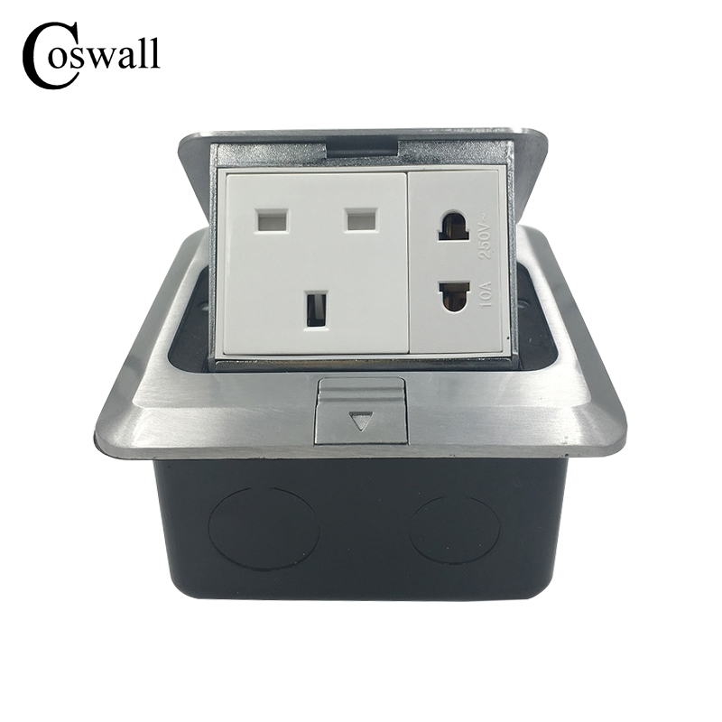 Coswall All Aluminum Silver Panel 13A UK Standard + 2 Hole Pop Up Floor Socket Power Outlet AC 110~250V manufacturer all aluminum panel eu standard pop up floor socket single power outlet dual usb port page 2