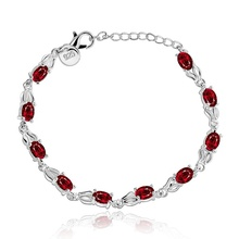 Silver plated exquisite luxury gorgeous fashion red zircon bracelet  temperament charm Silver jewelry birthday gift H350