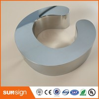 stainless steel channel letter outdoor mirror polished chrome metal letter
