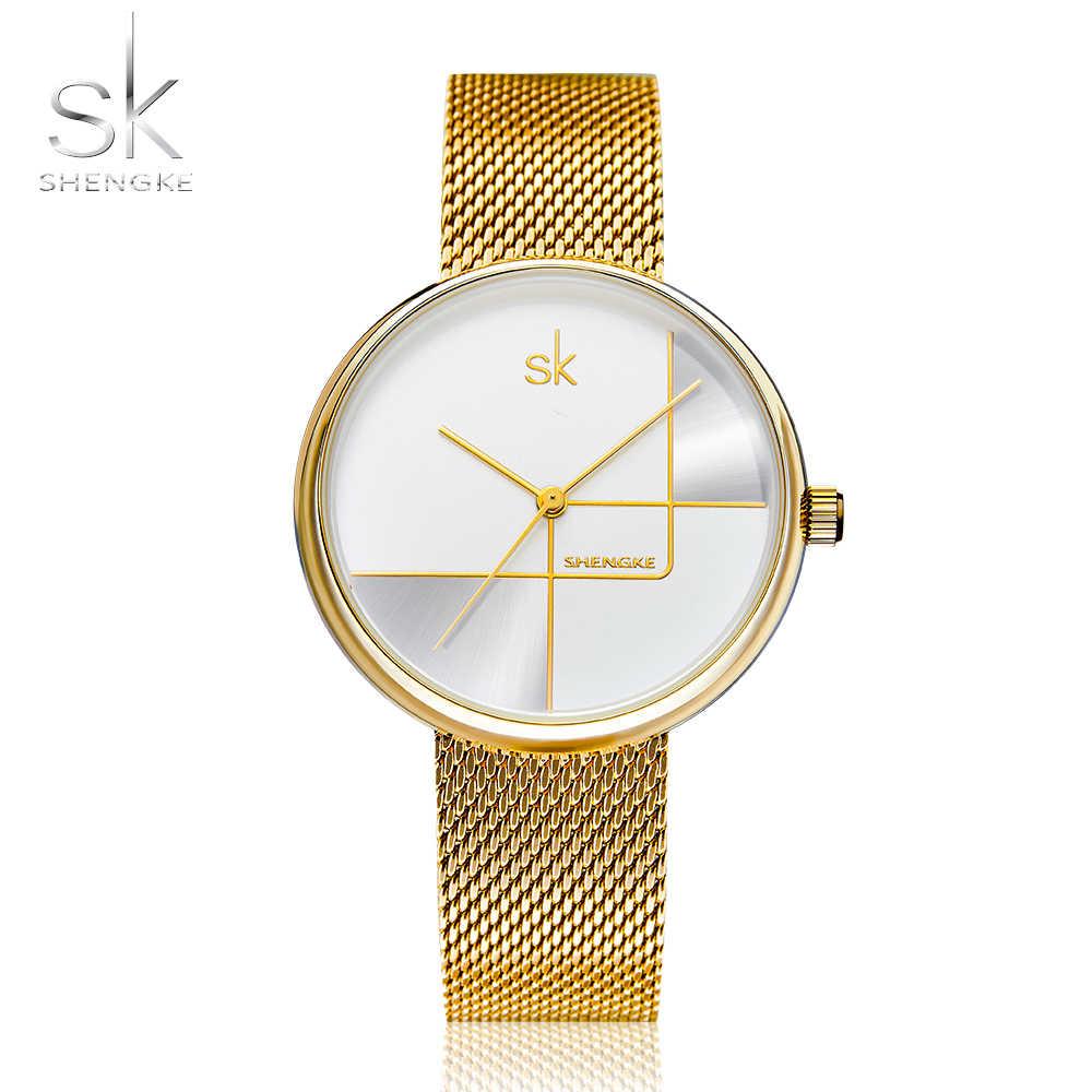 Shengke Altın İzle Kadınlar Saatler Bayanlar Milan Örgü Çelik kadın Bilezik Saatler Kadın Saat Relogio Feminino Montre Femme